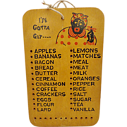 Vintage Black Americana Grocery List Wooden Board Aunt Jemima Mammy Plaque