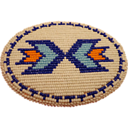 Vintage Men's American Indian Beaded Belt Buckle Cobalt Blue with Arrows