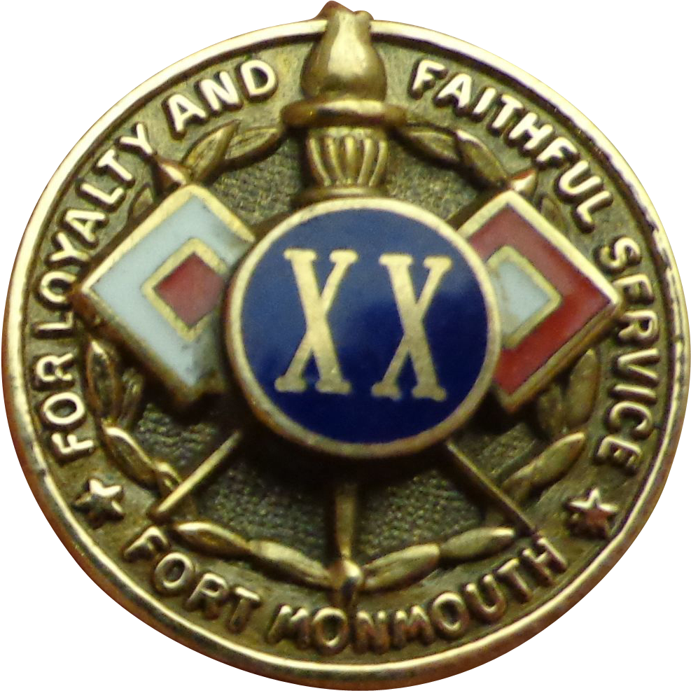 Rare Wwii 14k Gold Signal Corps 20 Year Pin Badge Enamel