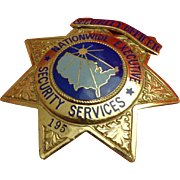 Vintage Nationwide Security Officer Breast Badge by Sun Badge Co of California Numbered