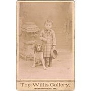 Antique Cabinet Photo Little Boy with his Spaniel Dog from Missouri