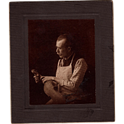 Rare Antique Cabinet Photo of Violin Maker Signed Hans Muller from Vienna