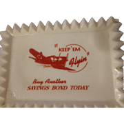 Very Rare Homefront Milk Glass Pin Tray Army Air Corps WWII Military