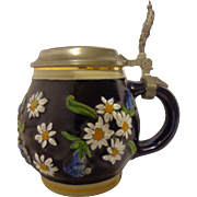 Spectacular Handarbeit Edelweiss Cobalt Blue Beer Stein from Bayern German