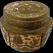 Antique Chinese Qing Dynasty Brass & Enamel Tea Jar
