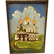Vintage Enamel on Copper Russian Plaque of Orthodox Cathedral - Red Tag Sale Item
