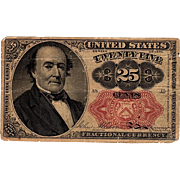 25C Twenty-Five Cent Fractional US Currency Series 1874 Walker Note Paper Money