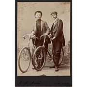 Rare Antique Cabinet Photo of 2 Gentlemen with Bicycles Grand Rapids Michigan