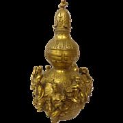 Large Chinese Brass Taoism Lucky Fu Lu Gourd Pot Jar 20 C.