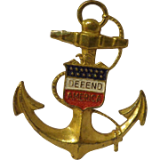"Nice WWII Patriotic Sweetheart Pin Homefront ""Defend America"" USN Navy"