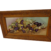 Beautiful Aesthetic Movement Limoges Art Tile with Deep Purple Boysenberries