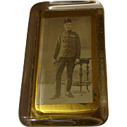 WWI Austrian Cavalry Officer Glass Paperweight Photograph Armed
