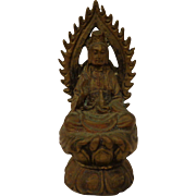 Antique Kwan Yin Miniature Traveler's Idol Chinese Goddess