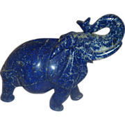 Gorgeous Lapis Lazuli Carved Elephant Proud African Pachyderm - Red Tag Sale Item