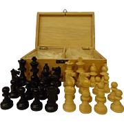 Vintage German Chess Set Wood Pieces and Dovetailed Wooden Box