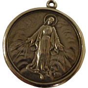 Nice Vintage Sterling Silver Medal of Mother Mary with Miraculous Sacred Hearts Catholic Christian