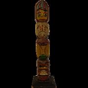 Vintage Southeast Alaska or Northwest Coast Indian Carved Wooden Totem Pole