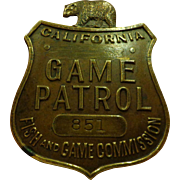 Old California Game Patrol Badge Fish & Game Commission Numbered