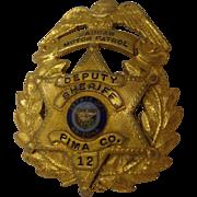 Rare Vintage Shriner's Police Badge Custom-Made Masonic Pima County Arizona Deputy Sheriff