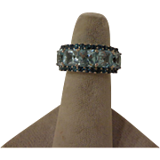 Beautiful Vintage Cocktail Ring Made in Thailand Aquamarine & Topaz Sterling Mount