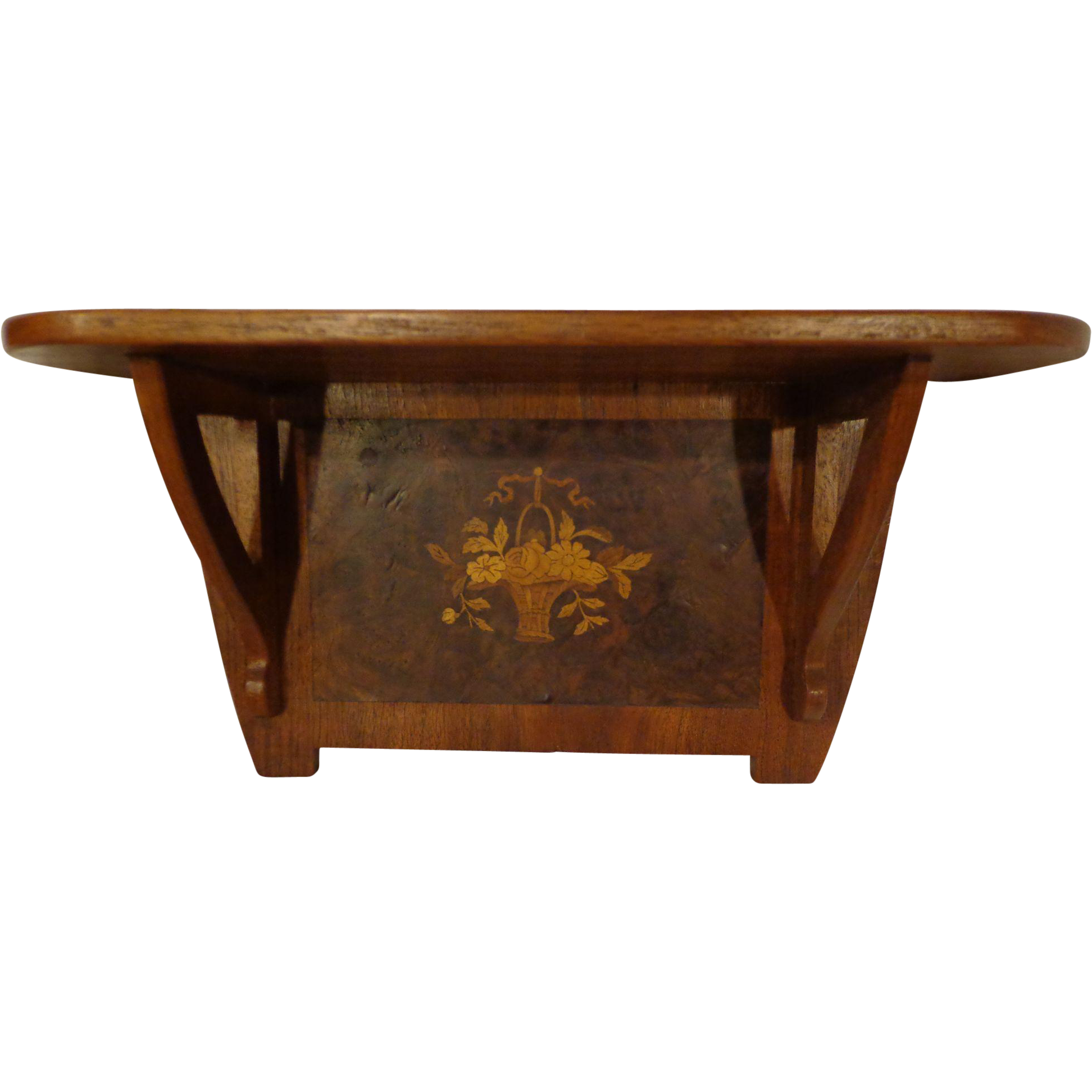 vintage accent shelf walnut marketry from
