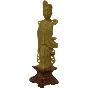 Antique Chinese Shoushan Carving Beautiful Maiden