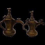 Set of Brass & Copper Antique Arab Dallah Coffee Pots with Beautiful Patina Islamic Decor