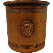Antique Victorian Copper Cup Beaker Trojan Neoclassical Emblem 19th Century
