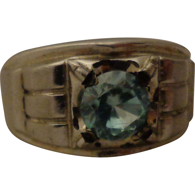 Vintage sterling aquamarine men 39 s ring gent 39 s art deco for Waterfall design ring