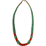 Outstanding Navajo Heishi Turquoise Disk Necklace Red Coral and Shell