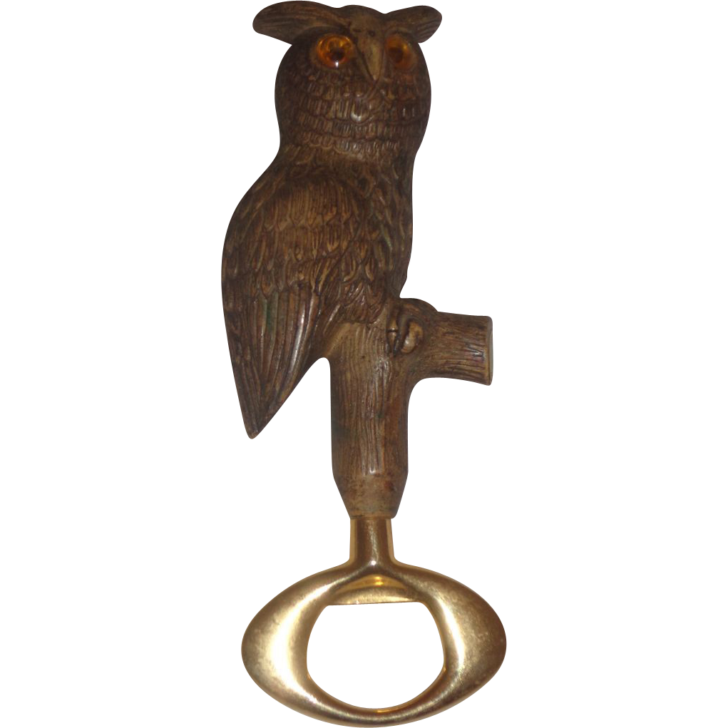 italian made owl bottle opener figural 1970s vintage retro sold on ruby lane. Black Bedroom Furniture Sets. Home Design Ideas