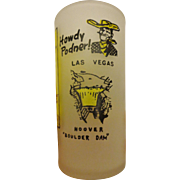 Vintage Las Vegas Frosted Glass Souvenir Cup Hoover Dam Silver State Nevada