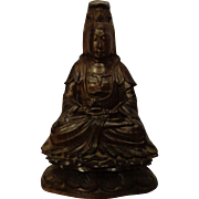 Vintage Chinese Quan Yin Carved Rosewood Buddha Bodhisattva Religious Statue