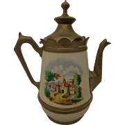 Antique Manning Bowman & Co. Coffee Pot Late Victorian Enamel & Pewter