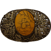 Old Chinese Export Bakelite Scrimshaw Silver Overlay Filigree Brooch