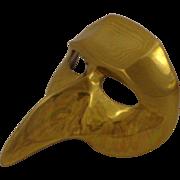 Vintage Mardi Gras Renaissance Revival Brass Wall Mask Carnivale Venice