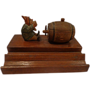 Outstanding Black Forest Carved Inkwell Beer Drinking Gnome Vintage Breweriana