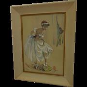 Midcentury Ballerina Handcolored Litho by Cydney Grossman Retro Decor