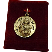 Vintage Sterling Silver Creed Religious Medal French St. Joan of Arc with Original Box