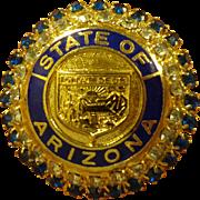 State of Arizona Enamel Brooch with Beautiful Rhinestones