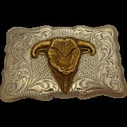 Vintage Sterling Silver Cowboy Belt Buckle Winking Steer Bull Engraved