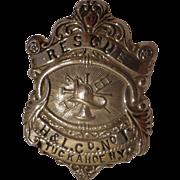 Antique Fireman Badge Cairns Tuckahoe New York NY c 1910