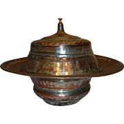 Impressive Vintage Copper Persian Covered Serving Dish Centerpiece Qajar