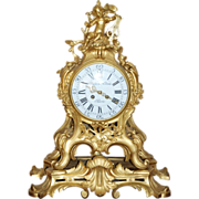 Exquisite 18th Century Gilt Bronze Rococo Putto Bracket or Cartouche Mantel Clock, by Imbert Louis XV