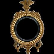 19th century English Regency Eagle Convex Giltwood Mirror, c. 1820