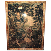 18th century Brussels Tapestry of a Pastoral Scene with Lovers