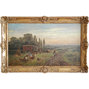 19th century landscape oil painting by Léon Boudot, Ex-Bonhams