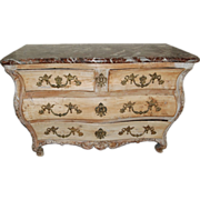 18th Century Louis XV Fruitwood Provincial Marble Top Commode / Chest