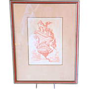 17th century French Engraving / Print of an Antique Vase Design by Le Pautre, Framed