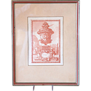 17th century French Engraving / Print of an Antique Vase Design by Le Pautre, Framed Frontispiece